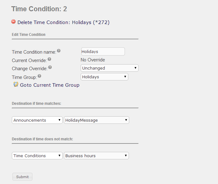 Configure cascading time groups and conditions documentation you can capture all holidays for the year in the same time group and only change the announcement and recording as each holiday approaches m4hsunfo